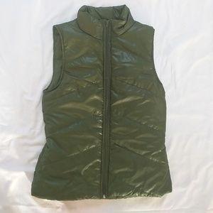 Olive Green Sleeveless Puffer Vest Self Esteem LG